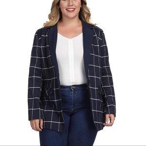 Jackets & Blazers - Plus Size Classic Plaid Modern Blazer
